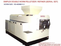 SIMPLEX DOUBLE WORM REFINER/PELLETIZER